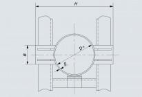 Опора неподвижная лобовая двухупорная трубопроводов DH 108÷1420 мм (Т4)
