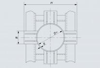 Опора неподвижная лобовая четырехупорная DH 133÷1420 мм (Т5)