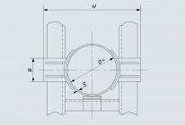 Опора неподвижная двухупорная усиленная трубопроводов DH 108÷1420 мм (Т6)